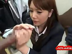 Office Lady Jerking Off Guy Cock Cum To Hand Playing With Semen On The Floor In The Changing Roo