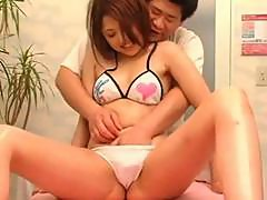 Japanese girl on the massage table rubbed