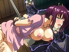 Bondage Japanese hentai with bigtits brutally fucked by ninja anime