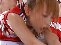 Asians in cheerleader outfits sucking and riding