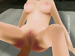 Japan 3D hentai babe gives head job