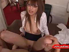 Secretary With Glasses Fucked On The Desk Having Orgasm Getting Creampie In The Office