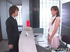 Hot and sexy asian secretary blows rigid