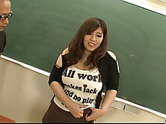 Plump and busty student fucked by two hung and horny teacher