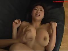 Busty Milf Getting Her Hairy Pussy Fucked On The Couch
