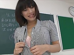 Beautiful Asian teacher wtih legs & stockings sucks cock