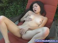 Naughty Asian Girl Masturbates Outdoor