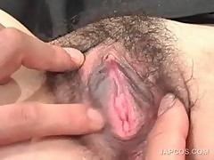 Asian maiden gets hairy twat spread in close-up