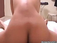 Hot blowjob and wild fuck from a horny asian couple