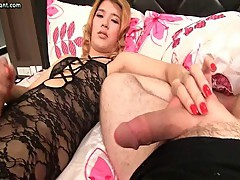 Hot shemale rubbing herself