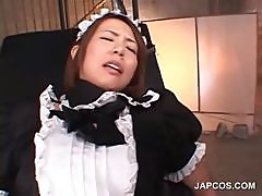 Asian slave in maiden suit gets cunt fucked