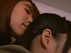 Asian Girl Kissed Getting Her Pussy Rubbed While Sleeping On The Mattress In The Room