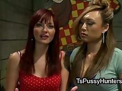 Busty Asian tranny fucks her girlfriend