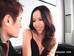 Asian showing undies upskirt gets talked into sex