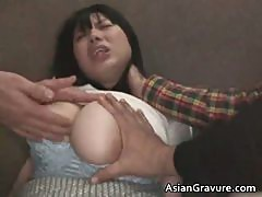 Cute asian babe with huge juggs gets