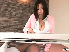 Busty asian slut goes crazy rubbing