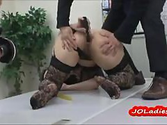 Office Lady In Lingerie Fucking Both Holes With Toys In Front Of Guys On The Desk In The Office