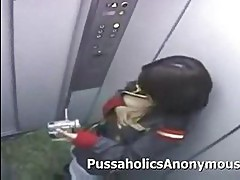 Japanese girl masturbating on an elevator