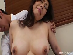 Yukari mets her boss after work in red and black lingerie for a hard fuck