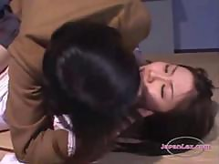 Bound Jap Teacher Getting her tits licked