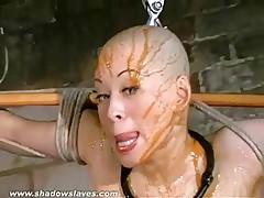 Asian bondage pornstar Kumimonsters bizarre feather and tar