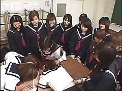 Japanese schoolgirls reverse gangbang 2
