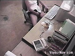 Asian Secretary Caught Masturbating