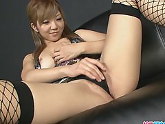 Wet dripping Asian pussy dildo filled and squ