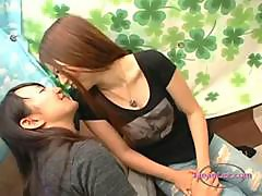 2 Asian Girls Kissing Passionately Sucking Tongues Petting On The Couch