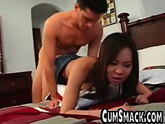Doggystyle fucking a skinny asian pussy