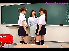2 Schoolgirls Rapping Teacher Fingering Her Pussy Sucking Nipples In The Classroom