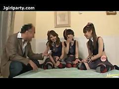 Three Japanese Girls Vs Old Man