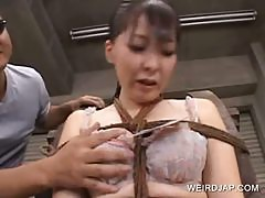 Asian girl gets tied up and sexually tortured in group