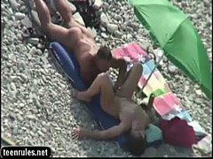 Sensual brunette Amateur sex in the beach