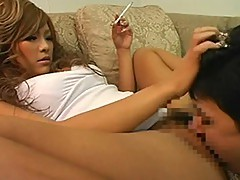 Japanese Femdom Rina Umemiya smoking