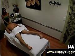 Asian woman gives thai massage