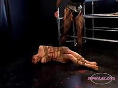 Asian Girl Bondaged Spanked And Whipped By Mistress In The Dungeon
