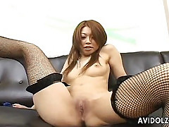 Busty Asian slut Nozomi Uehara toying around