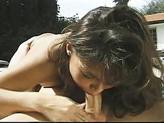 Asian brunette banged outdoors