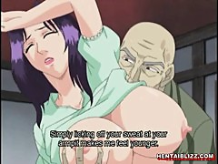 Japanese hentai mom with huge jugs gets fucked by old man