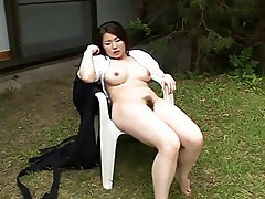 Young Japanese girl fucks teacher outside