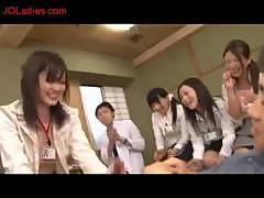 Office Ladies Giving Handjob Sucking Guy Cock On The Floor In The Room