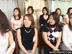 Asian sluts sucking cock at orgy