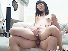 Cute asian GF fucked wildly from behind
