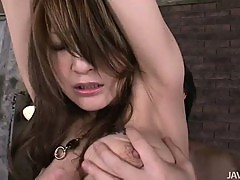 Yuu Hinouchi grinds her pussy and then has her pussy banged in an orgy