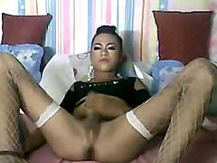 Fishnet Tranny Cock Stroking