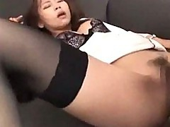 Office lady in white shirt fucked from behind cum to ass in