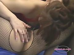 2 Asian Girls In Fishnet Lingerie Licking Pussies In 69 Fucking With Strapon On The Wrestling Mat