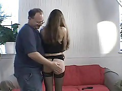 Brunette spanked by oldman