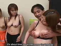 Subtitled prurient Japanese geezer has big breast harem